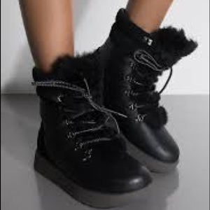 UGG Black Waterproof Leather Suede Winter Boots